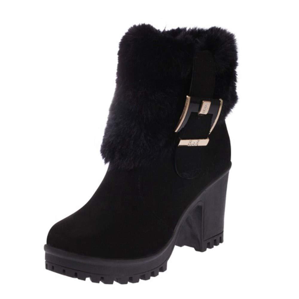 YSFU Stiefel Frauen Stiefelies Dekoration Warme Geschnallt Starke Ferse Schuhe Damen Stiefelie Lässig Herbst Winter Outdoor Anti Slip Schuhe Heeled
