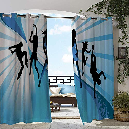 Linhomedecor Patio Waterproof Curtain Rap Young Teen Boys and Girls at a Party Disco Dance Themes People Having Fun Pale Blue Black White doorways Grommets Adjustable Curtains 120 by 108 inch from Linhomedecor