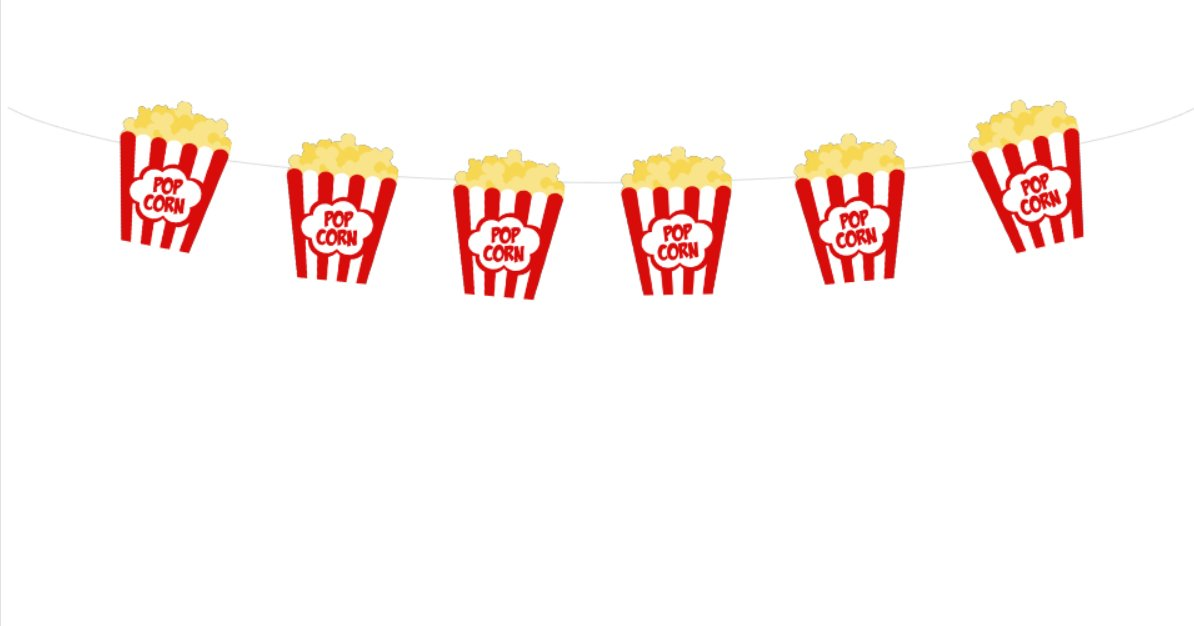 4'' TALL Movie Party Banner, Movie Party Banner, Popcorn Banner, Popcorn Garland, Popcorn Party Decorations