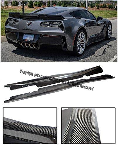 Performance Package (Z06's Z07 Performance Package Style CARBON FIBER Rocker Panel Side Skirts Splitter Extension For 14-Up Corvette C7 Z06 | Grand Sport 2014 2015 2016 2017 14 15 16 17 Z06)