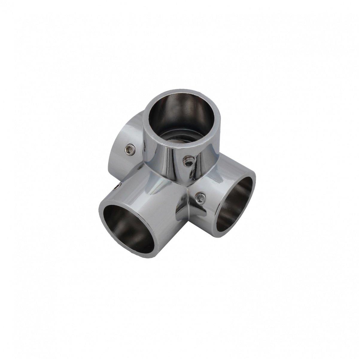 25mm Chrom Rohrverbinder Relingverbinder Reling Beschlag Stangen Verbindung 2-01 Rohrbogen