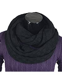 Men's Infinity Scarf Retro Knit Soft Warm Thick Neck Gaiter Winter Scarves CFE5001b-B (Black)