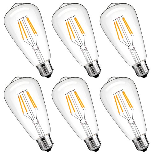 Dimmable Edison LED Bulb,LuminWiz 4W ST64 LED Filament Bulb Vintage Antique Style Edison Light Bulbs,2700K Soft White,25W Incandescent Equivalent,E26 Medium Base Lamp for Home Restaurant - Watt Equivalent Base 25 Medium