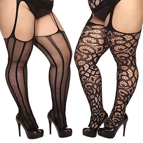 TGD Plus Size Stockings for Women Suspender Pantyhose Fishnet Tights Black 2 Pairs Thigh High Stocking (Fit US 8-16)(Black (Plus Size Fishnet Stockings Halloween)