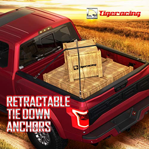 Tigeracing Tie Down Anchors Retractable Truck Bed Side Wall D Ring Compatible 1999-2013 Chevrolet Silverado 1500 2500 & GMC Sierra 1500 2500-3000 LBS Capacity (of 4)