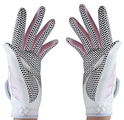 Woman Golf Gloves For Left And Right Hand Skid Grains Skidproof Breathble Durable - Pink Size S