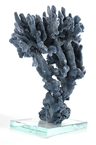 (COMLZD Blue Branch Coral Sculptures with Crystal Base for Table Decor, Office Decorative Accent 14 Inch High)