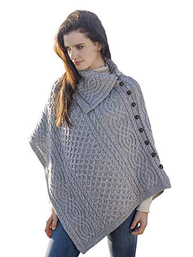 West End Knitwear Irish Cowl Neck Button Merino Wool Knit Poncho,Grey,Small / - Irish Poncho