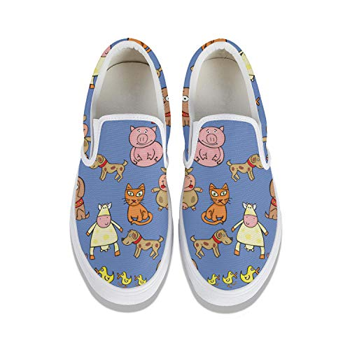 Mens Guys Blue Pig with Various Poultry Animals Plimsolls for Mens Shock Absorption Air Running Shoes