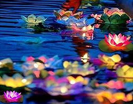 3Packs Solar Power Wish of Peace LED RGB Lamp Floating Lotus Flower Night light