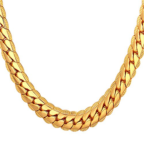 U7 Men Chunky Necklace 18KGP Stamp Hip Hop Jewelry 9MM Wide Gold Plated Thick Chain - 28 Inches