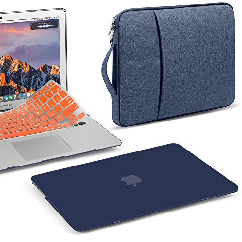 - GMYLE 3 in 1 Bundle Navy Blue Soft-Touch Matte Hard Case for Macbook Air 13 inch (A1369/A1466) Water Repellent Laptop Sleeve with Handle and Pocket and With Orange Silicon Keyboard Cover