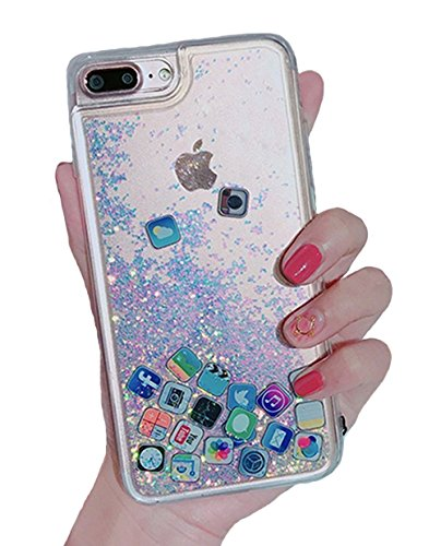 UnnFiko Liquid Glitter Case for iPhone 6, Hard Back Colorful Bling Quicksand with ios icon Apple APP Shine Phone Case for iPhone 6s (Silver Glitter, iPhone 6/6s)