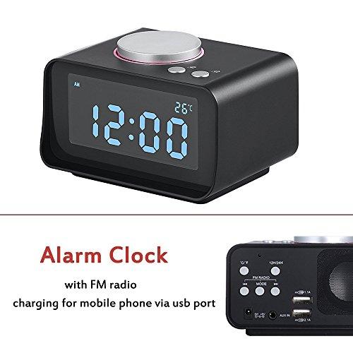 Uper, Clock Radio Alarm Clock with Dual USB Charging Ports,Adjustable Brightness,Loud Alarm Clock,Digital Alarm Clock Radio for Heavy Sleepers,Black