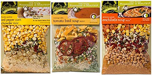 Frontier Soups Homemade in Minutes 3 Flavor Variety Bundle: (1) Tomato Basil, (1) Enchilada and (1) Red Pepper Corn Chowder, 4-5.75 Oz Each (3 Bags Total)