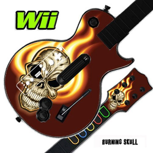 Mightyskins Skin Decal Skin Compatible with Guitar Hero 3 III Nintendo Wii Les Paul - Burning Skull