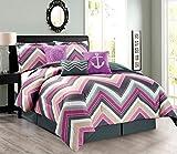 7-Piece Oversize CHEVRON ZIGZAG Designer Nautical Anchor Comforter Set (California) Cal King Size Bedding With Decorative Pillows (Purple, Pink, Grey, White)