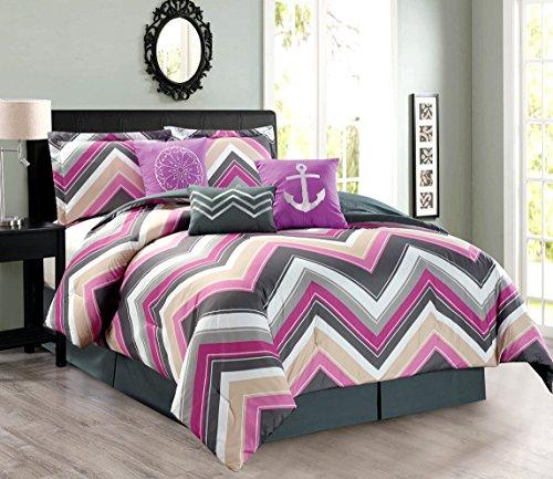 7-Piece Oversize CHEVRON ZIGZAG Designer Nautical Anchor Comforter Set (California) Cal King Size Bedding With Decorative Pillows (Purple, Pink, Grey, White) ()