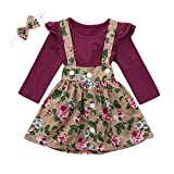 NUWFOR 3Pcs Toddler Infant Baby Girls Solid Ruffle Tops Floral Strap Skirt Clothing Set(Wine,3-4 Years
