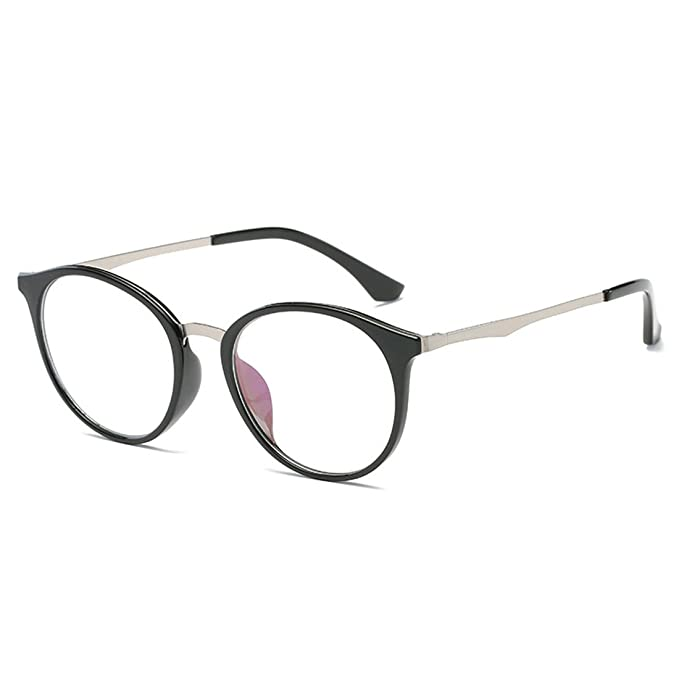 973eefcb72 D.King Vintage Round Horn Rim Glasses Frame Clear Lens Eyewear Non-Prescription  Black