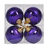 Vickerman 376706 - 4'' Plum Shiny Matte Glitter Mirror Ball Christmas Tree Ornament (4 pack) (M151426)
