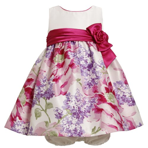 Bonnie Jean Baby/Infant 2-Piece PINK PURPLE MULTI LILAC FLORAL PRINT SHANTUNG Special Occasion Flower Girl Party Dress
