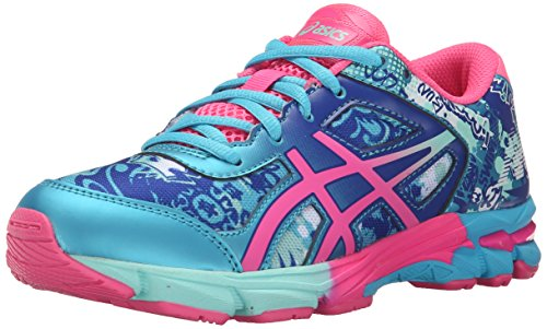 Price comparison product image ASICS Gel-Noosa Tri 11 GS Running Shoe (Little Kid/Big Kid), Turquoise/Hot Pink Blue, 7 M US Big Kid