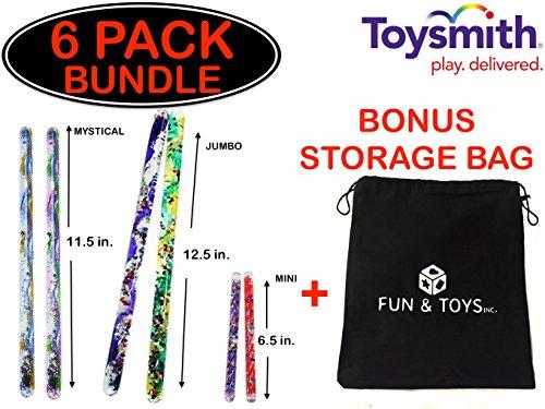 Fun & Toys Inc. Toysmith (2) Mystical Spiral Glitter Wands (2) Jumbo Spiral Glitter Wands and (2) Mini Spiral Glitter Wands with BONUS Storage Bag (Party Glitter Favor Wand)