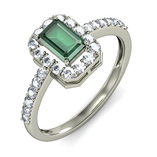 18K Or Blanc, 0.39carat Diamant Blanc (IJ | SI) Émeraude et diamant Bague