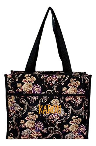 Floral Print Beach Bag - Medium Fashion Print Zipper Top Tote Bag (Autumn Floral - Embroidered Name)
