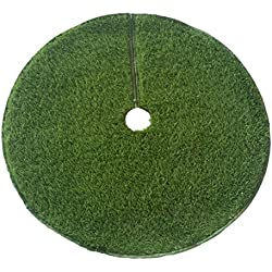 "Zen Garden Artificial Grass Christmas Tree Skirt w/ Anti-Slip Rubber Base w/ Binding (48"" Dia) 