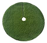 Zen Garden Artificial Grass Christmas Tree Skirt w/ Anti-Slip Rubber Base w/ Binding (48'' Dia)   Realistic Synthetic Grass Rug   Indoor & Outdoor Xmas Tree Skirts   Unique Holiday Decorations (Green)