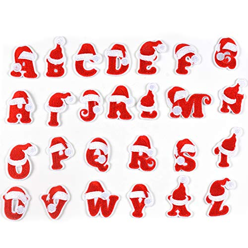 J.CARP 26Pcs Christmas Alphabet A to Z Patches, Iron on Sew on Letters for Clothing, Hats, Shoes, Backpacks, Handbags, Jeans, Jackets etc.