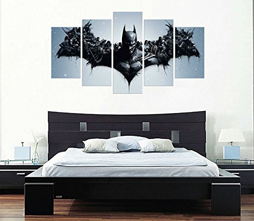[Medium] Premium Quality Canvas Printed Wall Art Poster 5 Pieces / 5 Pannel Wall Decor Batman Painting, Home Decor Pictures - With Wooden Frame (Batman Print)