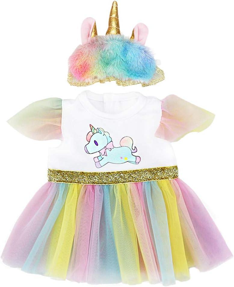 ZWOOS Ropa para Muñecas bebé, Vestido de Unicornio con Diadema para 18