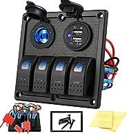 Kohree 4/5/6 Gang Marine Boat Rocker Switch Panel, 12V Waterproof RV Led Switch Panel for Car Truck Marine Boa
