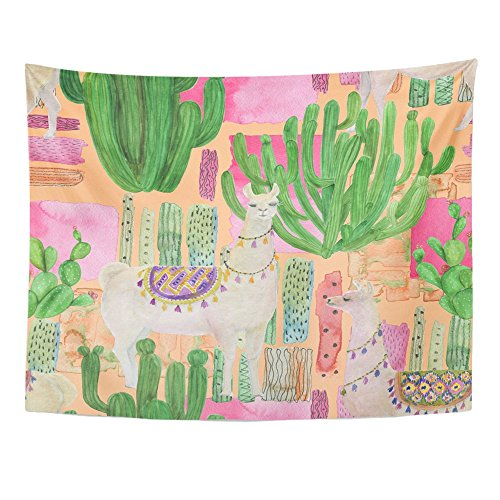 Emvency Tapestries Print 60x80 inches White Alpaca Watercolor Painting with Llamas and Cacti Peru Pet America Animal Wall Hangings Home Decor