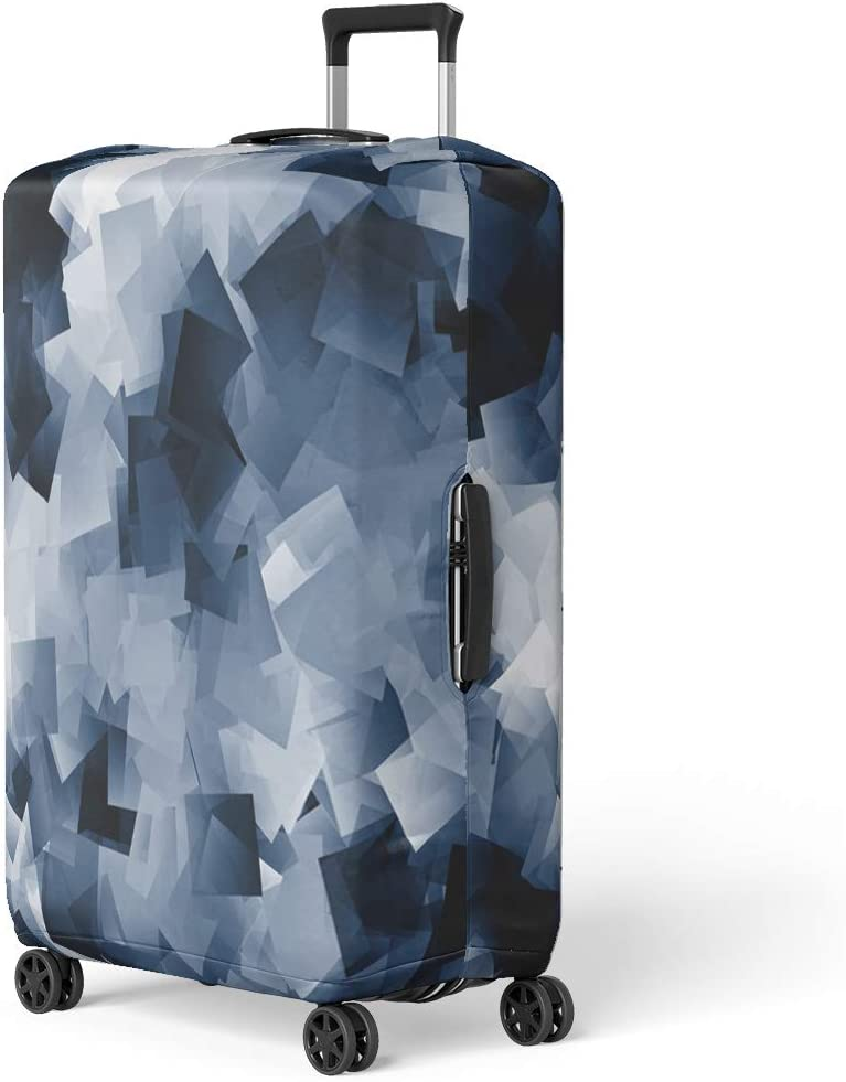 Pinbeam Luggage Cover Gray White and Navy Blue Cubes Scraps Travel Suitcase Cover Protector Baggage Case Fits 18-22 inches