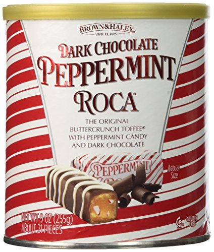 Brown & Haley Toffee (Dark Chocolate Peppermint Roca (1) 9 OZ Can)