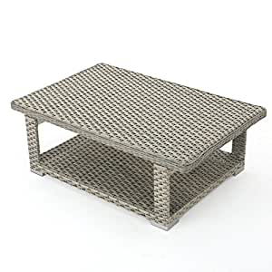 Lanie Outdoor Grey Wicker Aluminum Framed Coffee Table