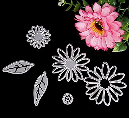 Delight eShop 6pcs Flowers Leaves Metal Cutting Dies Stencils Set For DIY Scrapbooking Photo Album Paper Card