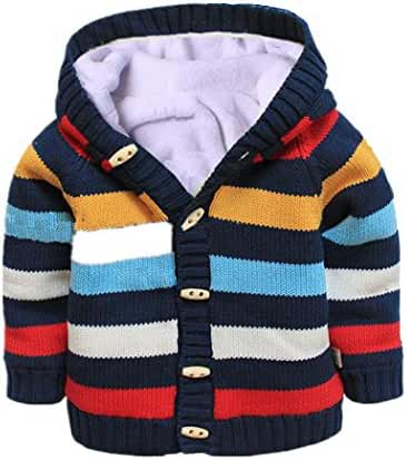 Baby Toddler Boys Girls Striped Long Sleeve Sweaters Cardigan Warm Outerwear Jacket