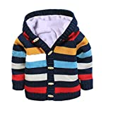 Baby Toddler Boys Girls Striped Long Sleeve Sweaters Cardigan Warm Outerwear Jacket, Dark Blue, 2T-3T
