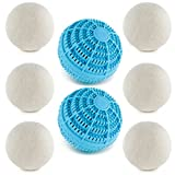 Reusable Hypoallergenic Laundry Ball Pack: 6 Wool Dryer Balls for a Natural Fabric Softener and 2 Laundry Washer Balls for a Non-Toxic Laundry Detergent Alternative - Eco Friendly and Chemical Free