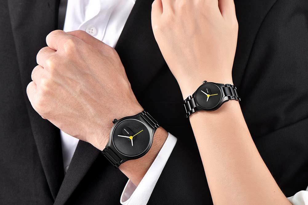 Gskj kvarts klocka, män kvinnor par mode metallband kalender sport kronograf lyx vattentät rostfritt stål klocka Men03