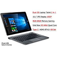 ChuwiUSA New Hi10 PRO 10.1 FHD IPS Windows 10/Android 5.1 Dual Boot 2-in-1 Tablet PC Intel X5 Quad Core 4GB 64GB Bundle Detachable keyboard Docking