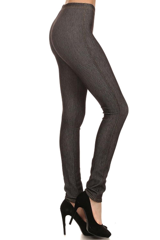 Leggings Depot Women's Ultra Stretch Skinny Pull On Denim Jeggings Leggings Pants