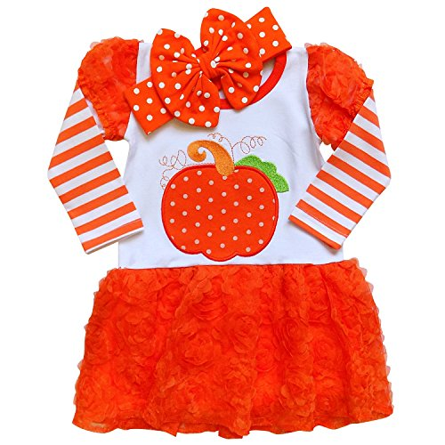 So Sydney Girls or Toddler Fall Holiday Polka Dot, Scroll, Stripe Pumpkin Dress (S (3T), Chiffon Orange (with (Toddler Girl Boutique Dresses)