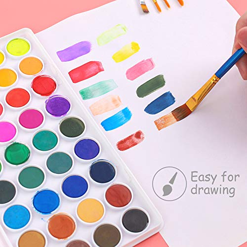 3 otters 36 Colors Watercolor Paint, Kids Painting Drawing Tools with 11 Brushes Kit Water Color Paints Sets for Kids Perfect for Kids, Adults and Beginner Artists