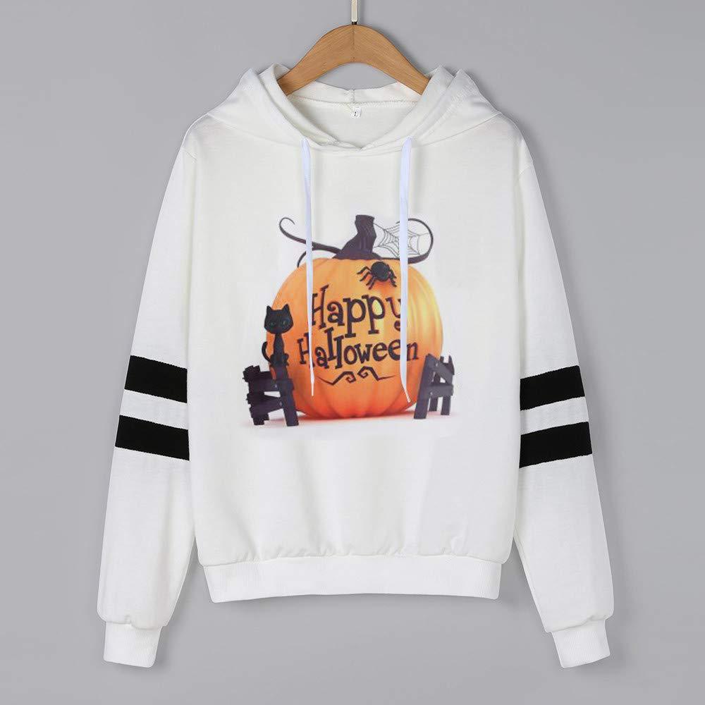 Camisetas de Halloween, BaZhaHei, Camisas para Mujer con Capucha Ocasional de la Manga Larga de la Blusa del Sudadera con Capucha Impresa del Hoodie con ...